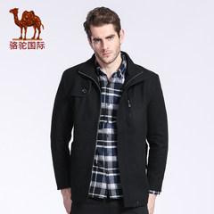 駱駝秋冬款無帽立領男士中長款商務休閑外套保暖毛呢大衣