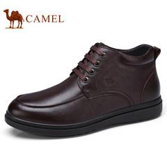 Camel/骆驼男鞋2017冬季保暖商务靴加绒靴子男士毛靴系带高帮皮鞋