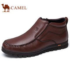 Camel/骆驼男鞋2017冬季一脚套商务皮靴柔软缓震牛皮日常套脚皮鞋