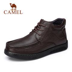 骆驼男鞋 冬季保暖舒适高弹牛皮加绒保暖靴 高帮舒适时尚商务靴子