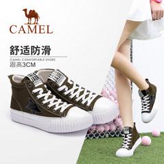 駱駝女鞋 時尚休閑白搭舒適卡通五星韓版學院平底高幫鞋