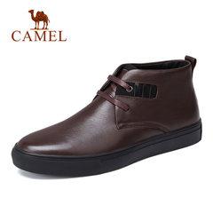 骆驼男鞋冬季休闲套脚橡胶底皮鞋软底减震男保暖皮鞋单鞋 男靴子