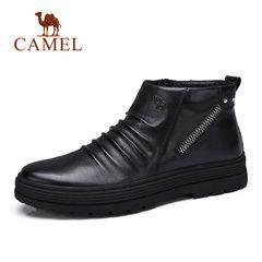 骆驼男鞋 冬季男靴高帮鞋日常休闲鞋 男士保暖加绒套脚软底驾车