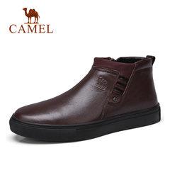 Camel/骆驼男鞋冬季休闲套脚皮鞋减震舒适男保暖皮鞋单鞋 男靴子