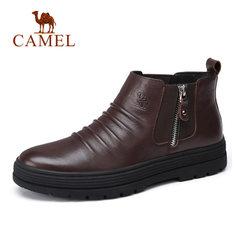 Camel/骆驼男鞋秋冬潮流休闲鞋加绒柔软保暖牛皮休闲靴 高帮男鞋