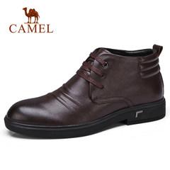 Camel/骆驼男鞋冬季商务休闲男靴牛皮加绒高帮保暖商务皮鞋男靴