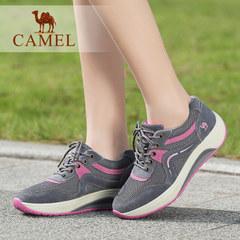 Camel/骆驼运动休闲鞋舒适女鞋牛反绒系带深口平跟低帮单鞋