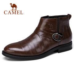 骆驼男鞋 冬季短筒加绒保暖 复古时尚 休闲皮靴防滑商务休闲皮鞋