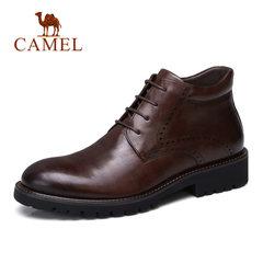 骆驼男鞋秋季耐磨男靴 冬鞋英伦雕花黄牛牛皮靴 加绒保暖商务靴