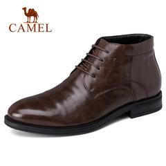 骆驼男靴时尚正装保暖 皮靴时尚男士职场系带皮鞋抓纹牛皮鞋子男