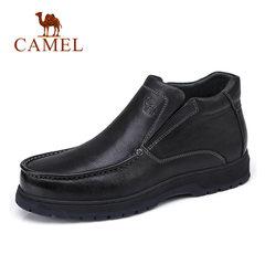 Camel/骆驼男鞋冬季商务休闲加绒保暖牛皮商务靴男士皮鞋男短靴