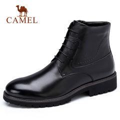 Camel/骆驼男鞋秋冬男靴商务休闲加绒保暖牛皮圆头皮靴男鞋子靴子