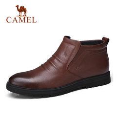 骆驼男鞋 秋冬加绒保暖绒毛里短靴牛皮休闲靴子 舒适防滑男靴短靴