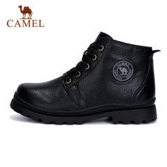 CAMEL骆驼童鞋户外保暖皮靴中大童圆头仿兔毛里男女童缓震马丁靴