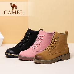 Camel/骆驼女靴2017冬季新款英伦系带马丁靴女靴简约百搭短筒靴子