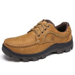 骆驼男鞋 秋季耐穿日常户外休闲鞋 牛皮耐磨舒适男士低帮鞋男鞋