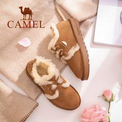 骆驼女鞋甜美舒适保暖低帮鞋磨砂皮系带平跟毛毛鞋