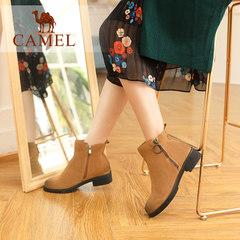 Camel/骆驼骆驼女鞋复古方跟短筒靴子擦色中跟加绒保暖女靴