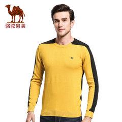 骆驼&熊猫联名系列男装 时尚修身韩版青年套头拼色圆领毛衣针织衫