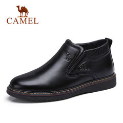 Camel/骆驼男鞋冬季休闲保暖商务靴加绒靴子男士毛靴高帮皮鞋男靴
