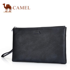 骆驼真皮钱包男长款拉链印花手包牛皮手拿包休闲手抓包男士手拿包