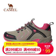 【清倉特賣】駱駝戶外情侶款徒步鞋磨砂皮耐磨低幫系帶男女徒步鞋