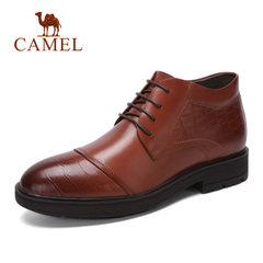 Camel/骆驼男靴冬季商务休闲男靴高帮皮鞋系带休闲英伦皮鞋男