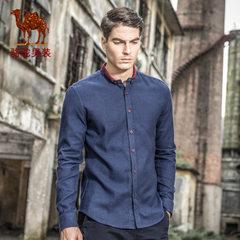 骆驼牌男装 春季时尚修身长袖衬衫 韩版日常纯色衬衣男