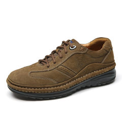 骆驼男鞋 秋季户外时尚休闲耐磨舒适耐穿百搭磨砂皮厚底缝线皮鞋
