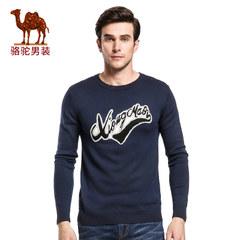 骆驼&熊猫联名系列男装提花修身长袖毛衣圆领套头针织衫