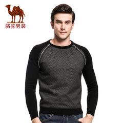 骆驼&熊猫联名系列男装毛衣 秋季套头圆领时尚青年拼色长袖