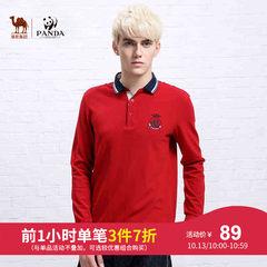 骆驼&熊猫联名系列熊猫PANDA男装春季男款休闲长袖纯色衬衫领t恤