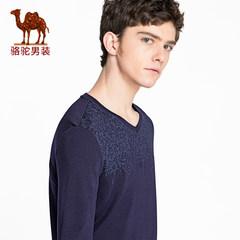骆驼男装 2018春季新款青年莫代尔棉V领长袖t恤衫纯色休闲上衣服