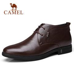 Camel/骆驼男鞋冬季牛皮商务休闲系带加绒保暖男士皮鞋子商务靴子