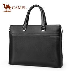 Camel骆驼男包新款男士牛皮手提包横款商务休闲单肩斜挎公文包男