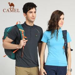 CAMEL骆驼&8264登山队系列 户外情侣款舒适立领速干短袖T恤上衣