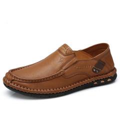 骆驼男鞋2018秋季潮流户外休闲手工缝线鞋真皮舒适轻便套脚驾车鞋