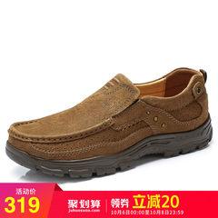 骆驼男鞋 2018秋季牛皮旅游鞋 户外休闲耐磨套脚牛皮缓震休闲皮鞋