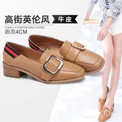 骆驼女鞋 2018春季新款乐福鞋 金属扣饰方跟百搭单鞋女英伦小皮鞋