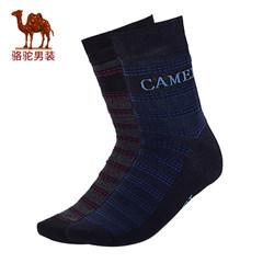 骆驼男士中筒袜子秋冬新款时尚格纹拼色商务休闲男青年长袜男袜子