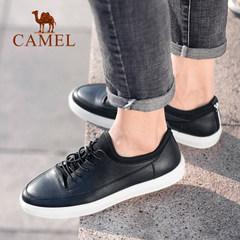 Camel/骆驼男鞋2018春夏新款鞋黑白时尚轻盈柔软耐折牛皮板鞋
