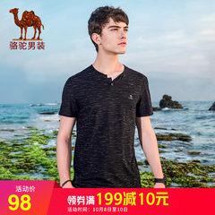 骆驼男装 2018年夏季新款短袖t恤男休闲潮多色半袖纯色男士短T恤