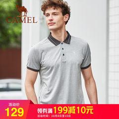 骆驼男装2018夏季新品polo衫男短袖T恤商务纯色潮牌修身男士体恤