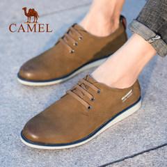 Camel/骆驼男鞋2018春季新款休闲鞋男系带擦色复古牛皮舒适潮鞋子