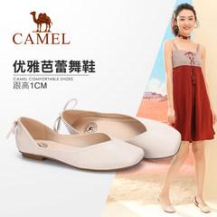 Camel/骆驼2018春季新款 舒适芭蕾鞋平底方头奶奶鞋 浅口单鞋女