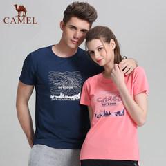 骆驼户外T恤春夏情侣款圆领短袖时尚舒适运动T恤男女
