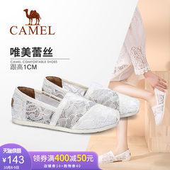 骆驼女鞋 2018春季新款 时尚蕾丝平底单鞋女简约乐福透气休闲鞋子