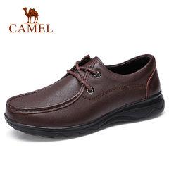 Camel/骆驼老人男鞋2018春季新品中老年商务牛皮鞋系带爸爸健步鞋