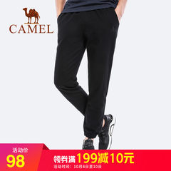 骆驼男装 2018春秋新品运动裤子男女卫裤宽松健身运动针织长裤男
