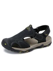 yabo sports app男凉鞋 2018夏季男士休闲户外沙滩鞋 真皮魔术贴牛皮包头凉鞋